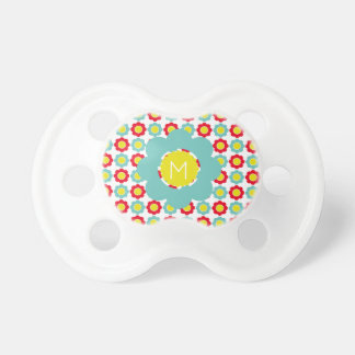 Light Teal Bright Red and Yellow Flower Monogram Baby Pacifier