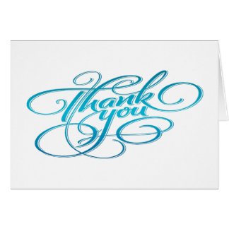 Light Teal Hand Lettered Thank You Note Card