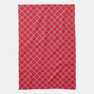 Light Teal Lattice Stripes on Bright Red Kitchen Towel