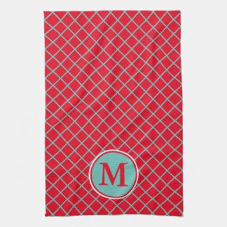 Light Teal Lattice Stripes on Bright Red Monogram Kitchen Towel