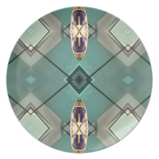 Light Teal Nuetral Tone Geometric Pattern Dinner Plates