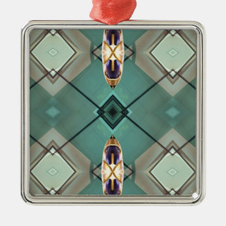 Light Teal Nuetral Tone Geometric Pattern Silver-Colored Square Ornament
