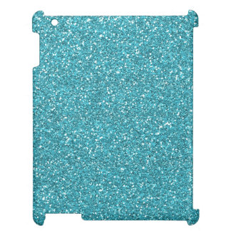 Light Teal Peacock Blue Glitter Effect iPad Case