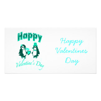 Light Teal Penguin Happy Valentines Day Custom Photo Card