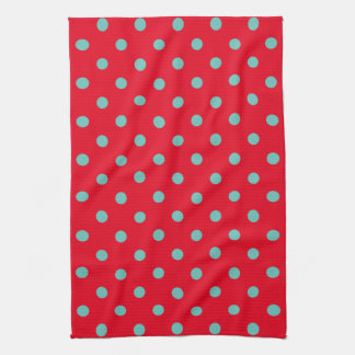 Light Teal Polka Dots on Bright Red Kitchen Towel