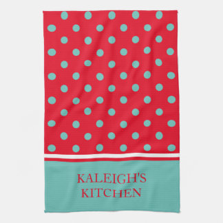 Light Teal Polka Dots on Bright Red Personalized Kitchen Towel