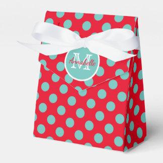 Light Teal Polka Dots on Red Monogram Favor Box