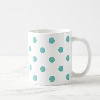 Light Teal Polka Dots on White Coffee Mug