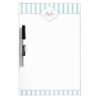 Light Teal Stripe Monogram Dry Erase Board