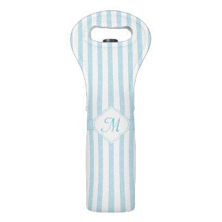 Light Teal Stripe Monogram Wine Bag