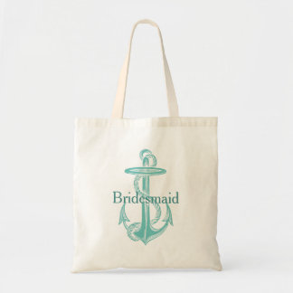 Light Teal Vintage Anchor Personalized Bridesmaid Tote Bag