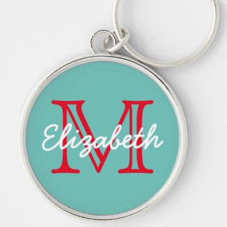 Light Teal With Bright Red White Monogram Silver-Colored Round Keychain