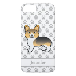 Light Tricolor Pembroke Welsh Corgi & Custom Name iPhone 8/7 Case
