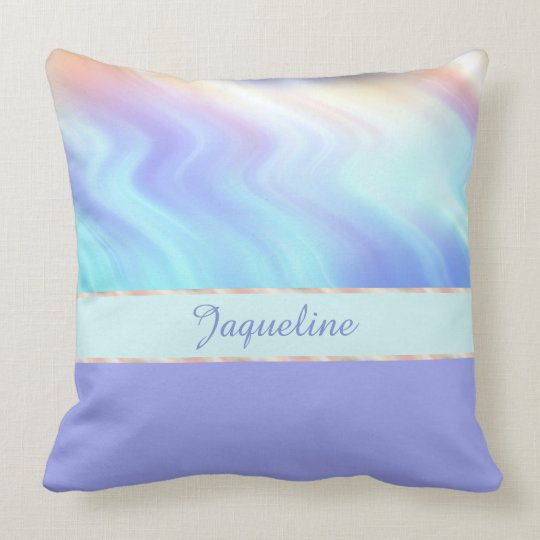 Light Turquise Swirls and Lavender Throw Pillow