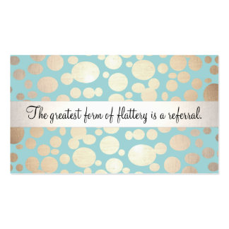 Light Turquoise Blue and Gold Beauty Referral Card Business Cards