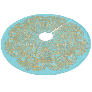 Light Turquoise Blue Green Mandala Star Pattern Fleece Tree Skirt