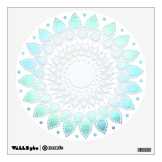 Light Turquoise Blue Lotus Flower Wall Decal
