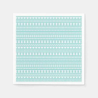 Light Turquoise Tribal Aztec Pattern Paper Napkins