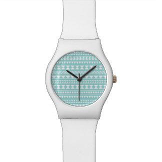 Light Turquoise Tribal Aztec Pattern Watch