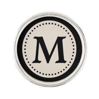 Light Warm Gray Black Monogram Lapel Pin