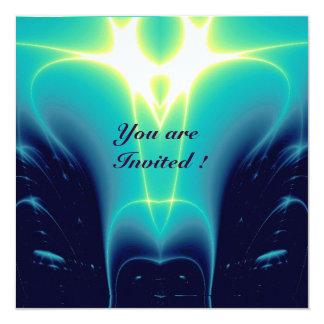 "LIGHT WAVES ,Aqua Blue,Turquase,White 5.25"" Square Invitation Card"