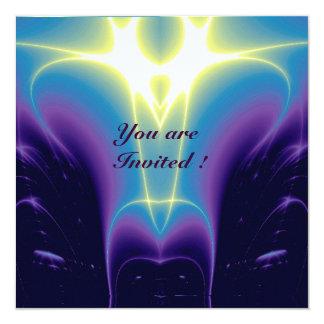 "LIGHT WAVES ,Blue,Purple,White 5.25"" Square Invitation Card"