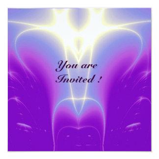 "LIGHT WAVES ,Pink,Fuchsia,,Purple,White 5.25"" Square Invitation Card"