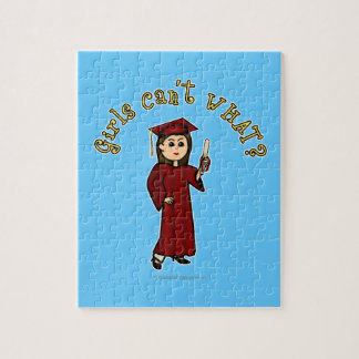 Light Woman Graduate in Red Gown Jigsaw Puzzle