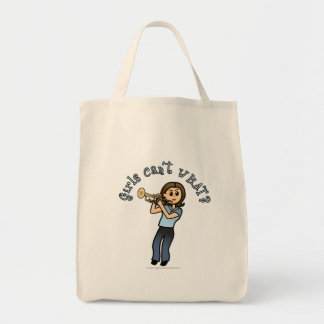 Light Woman Playing Trumpet Tote Bags