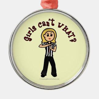 Light Woman Referee Metal Ornament