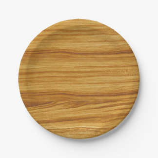 Light Wood Grain Paper Plate