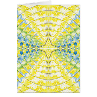 Light Yellow Blue Circular Artistic Pattern Card