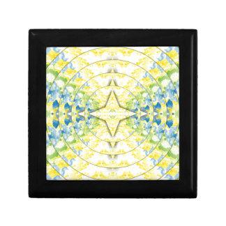 Light Yellow Blue Circular Artistic Pattern Jewelry Box