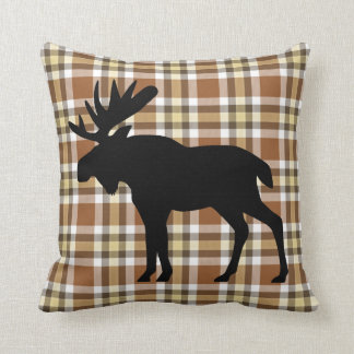 Light Yellow Dark Coffee Brown Lumberjack Pattern Throw Pillow