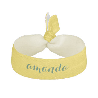 Light Yellow Hair Tie With Monogram