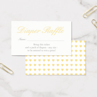 Light Yellow Hearts Diaper Raffle Card