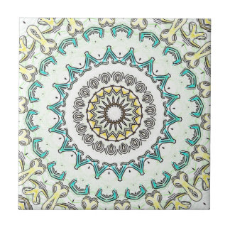 Light Yellow Mint Green Mandala Ceramic Tile