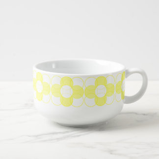 Light Yellow Retro Flower Soup Mug