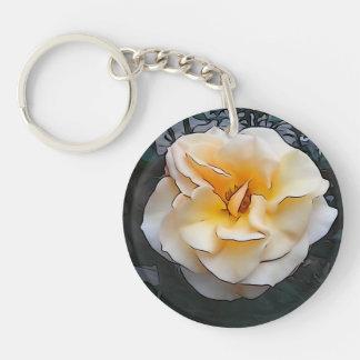 Light Yellow Rose Keychain