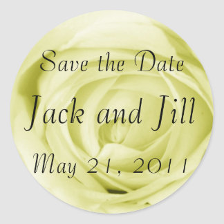 Light Yellow Save the Date Round Sticker