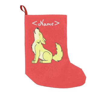 Light Yellow Wolf Pup Howling Small Christmas Stocking
