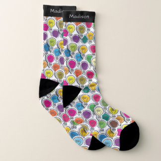 Lightbulbs Pattern custom name socks