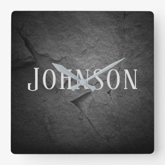 lighted black slate stone with name square wall clock