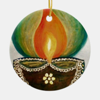 lighted diya ceramic ornament