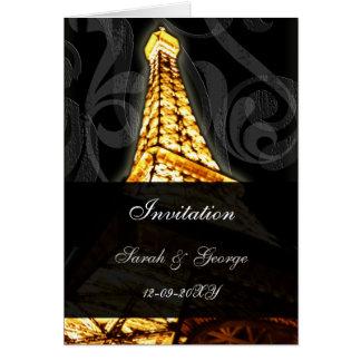 lighted eiffel tower french wedding Invitations