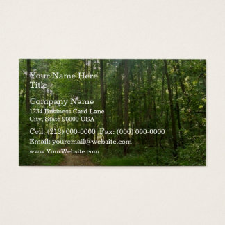 Lighted path in forest business card