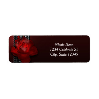 Lighted Rose & Lace Burgundy Elegant Invitation Return Address Label