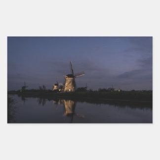 Lighted windmill at Blue Hour rectangular sticker