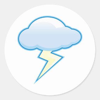 Lightening cloud classic round sticker