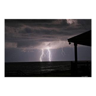 Lightening On Ocean Poster